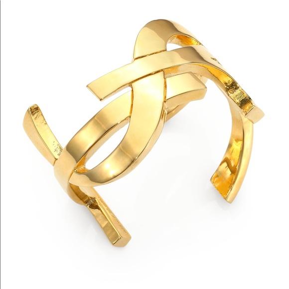 Saint Laurent YSL Monogram Signature Bracelet Gold